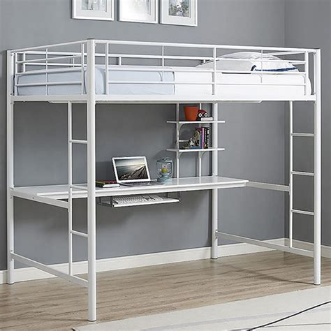 White-Metal-Loft-Bed-With-Desk
