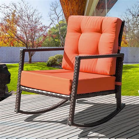 Wicker Rocking Chair Cushion Set