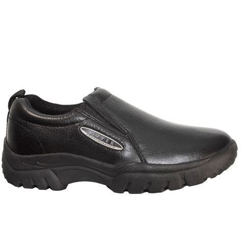 Wide Width Smooth Black Tumbled Lether Mens Slip-on