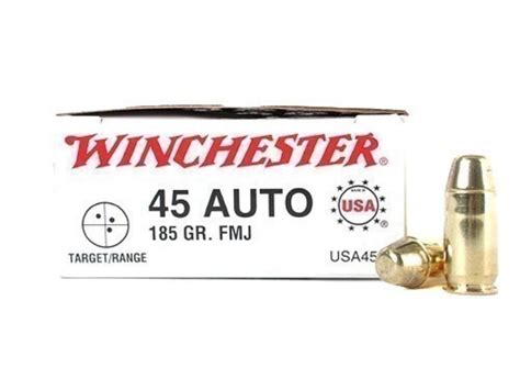 Winchester Usa Handgun Ammunition 45 Acp 185 Gr Fmj 50 Ct And Bottom Metals Receiver Parts At Brownells