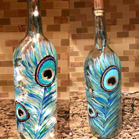 Wine Bottle Peacock Diy Feather