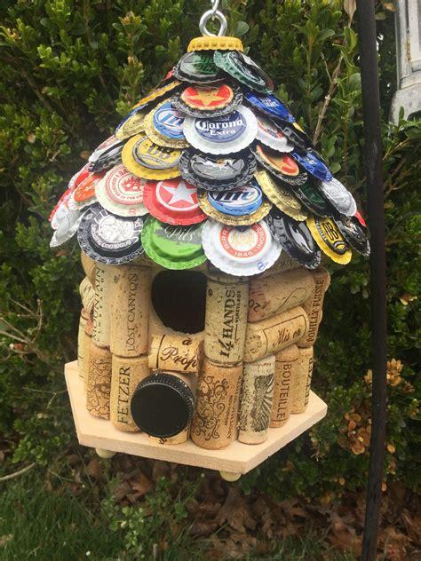Wine-Cork-Birdhouse-With-Beer-Cap-Roof-Diy