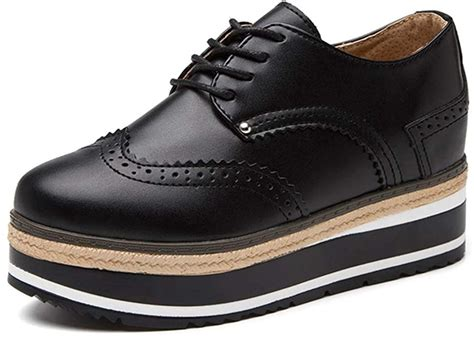 Wingtips Platform height Increasing Womens Oxford Shoes