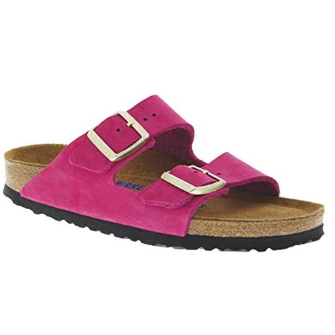 Women's Arizona Soft Footbed Shocking Pink Nubuck Sandals (N)