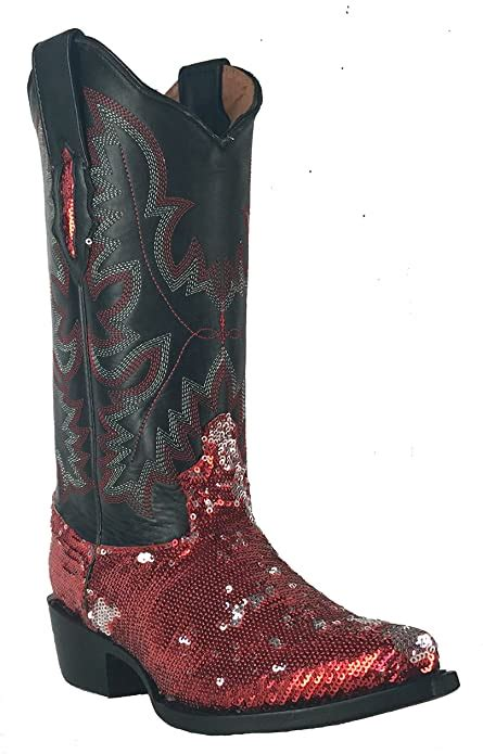Women's New Fantastical Shimmering Sequin Western Cowgirl Biker Boots Snip Blue