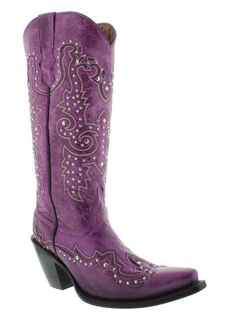 Women's Purple Studded Western Leather Cowboy Boot Snip Toe