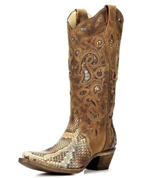Women's Python Inlay Cowgirl Boot Snip Toe - A2911