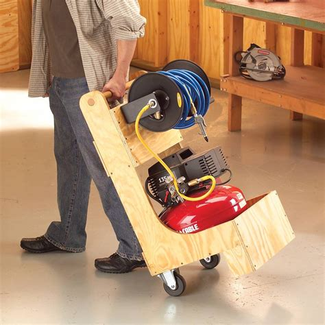 Wood Air Compressor Cart With Hose