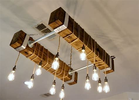 Wood Beam Chandelier Diy Ideas