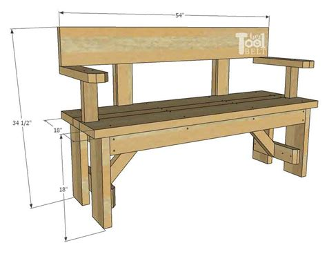 Wood Bench With Backrest Plans