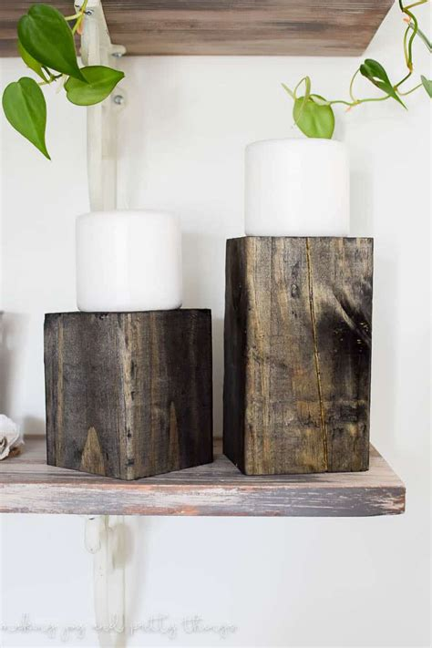 Wood Block Candle Holder Diy