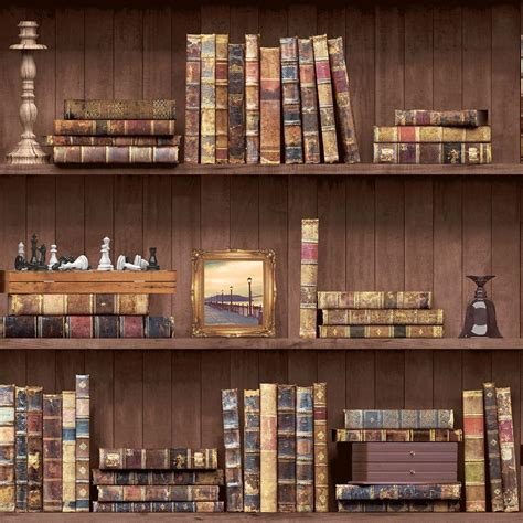 Wood Bookshelf Wallpaper