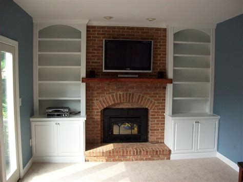 Wood Built In Cabinets Around Fireplace