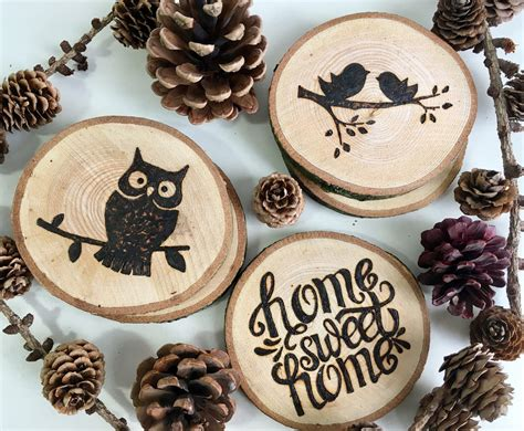 Wood Burned Coasters Diy