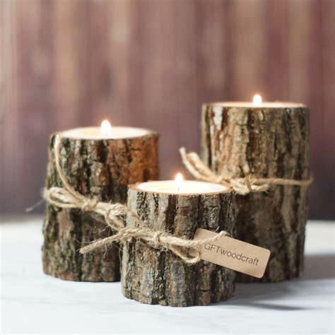 Wood Candle Holders Diy Rustic Burlap