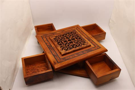 Wood Carving Box With Secret Opening Wooden