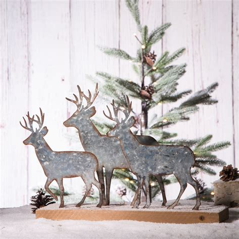 Wood Christmas Deer Figurines