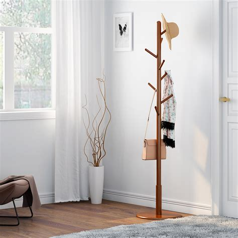 Wood Coat Rack Hall Tree With Umbrella Stand