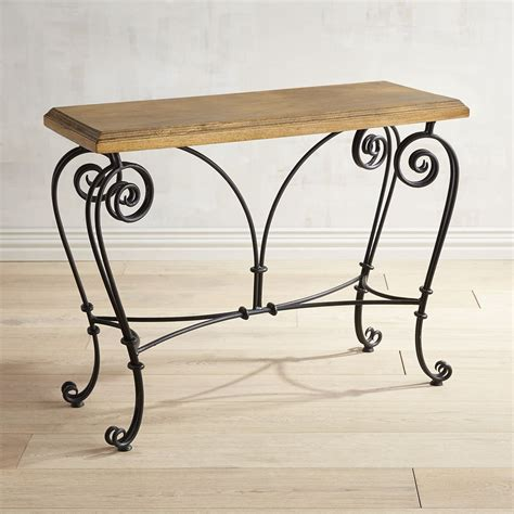 Wood Console Table With Scroll Iron Legs