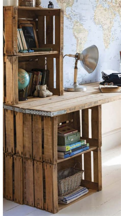 Wood Crate Desk Diy Decor