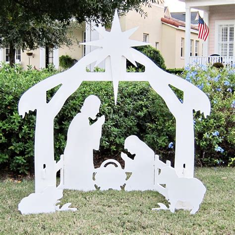 Wood Cut Out Nativity Scene Outdoor Inflatable