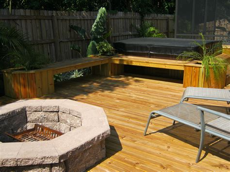 Wood Deck With Fire Pit Design Plans
