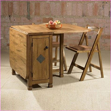 Wood Folding Table With Chairs Stored Inside