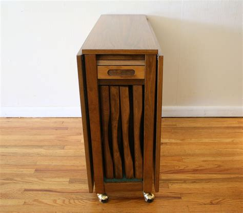 Wood Folding Table With Hidden Chair Storage