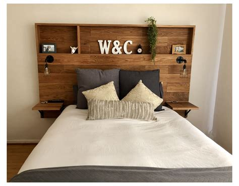 Wood Headboard Bookcase With Light DIY
