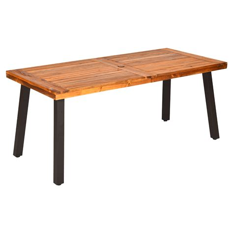 Wood Patio Dining Table With Umbrella Hole
