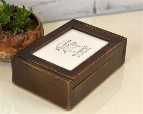Wood Photo Box With Picture Frame Lid