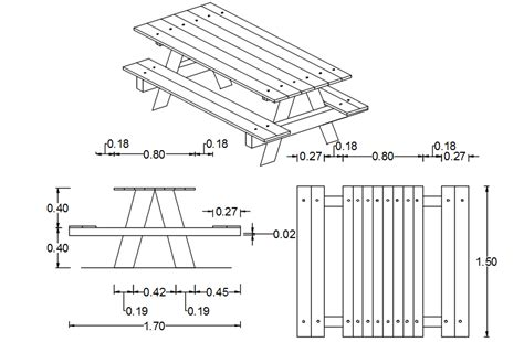 Wood Picnic Table Dwg