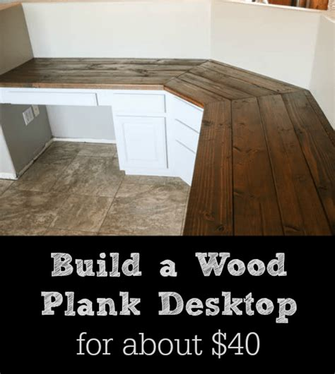 Wood Plank Desk Top Diy