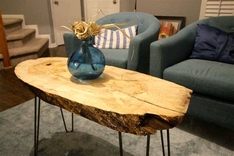 Wood Slab Side Table Diy