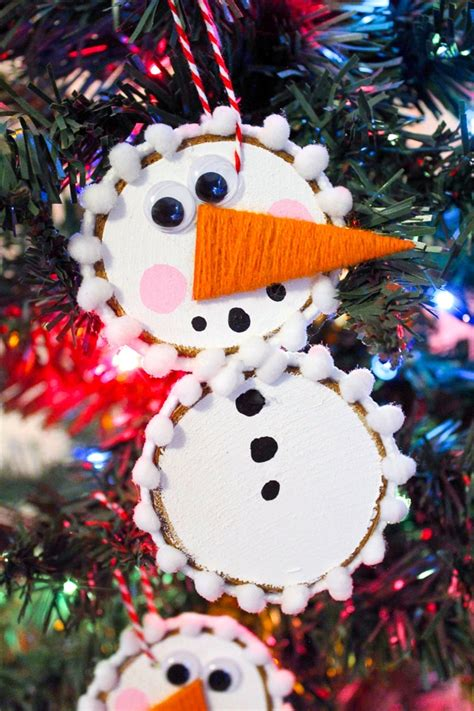 Wood Slice Snowman Diy Mason