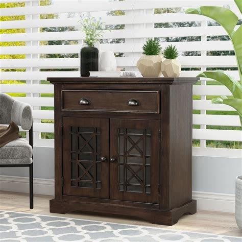 Wood Storage Cabinet With Doors And Drawers