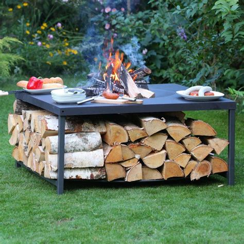 Wood Table Fire Pit Diy Metal