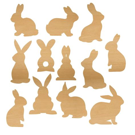 Wood Veneer Rabbit Shape For Scrapbooking