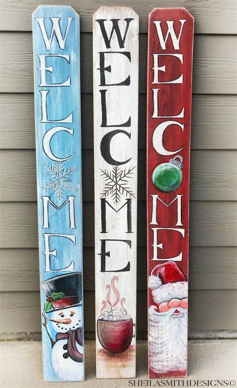 Wood Welcome Sign With Holiday Toppers