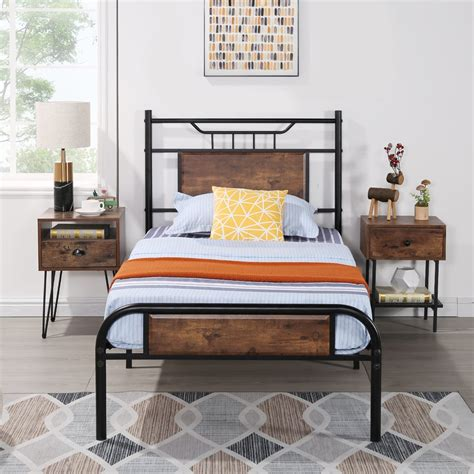 Wood-And-Metal-Twin-Bed