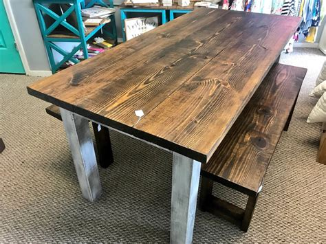 Wood-Farm-Table-With-Bench