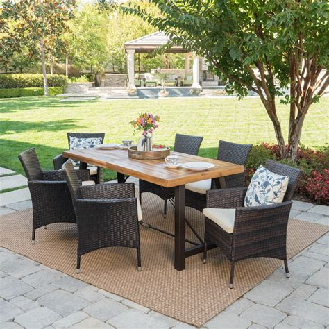 Woodby Outdoor 7 Piece Dining Set With Cushions