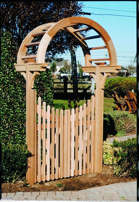 Wooden Arbors With Metal Gates