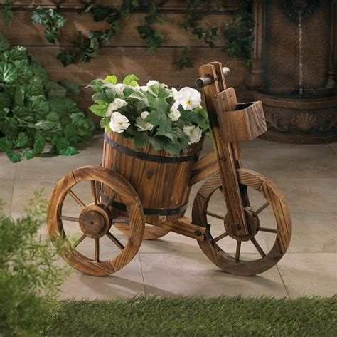 Wooden Bicycle Planter