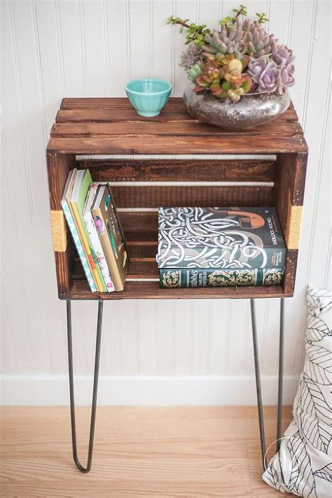 Wooden Crate Bedside Table Diy