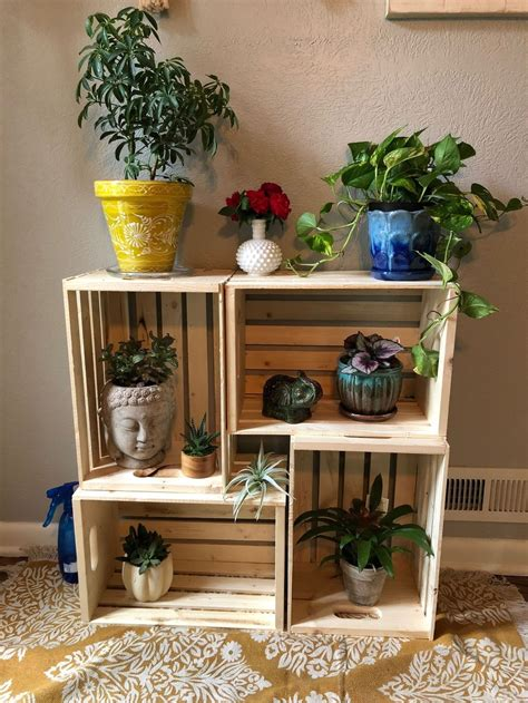 Wooden Crate Plant Stands For Multiple Plants