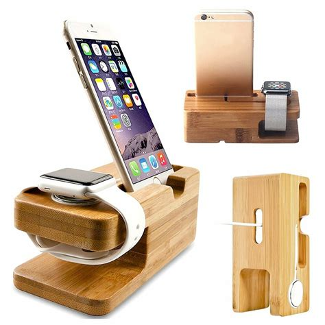 Wooden Iphone Apple Watch Charger Charging Dock Station Stand Gift For Him Wood