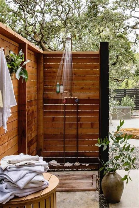 Wooden Outside Shower Plans