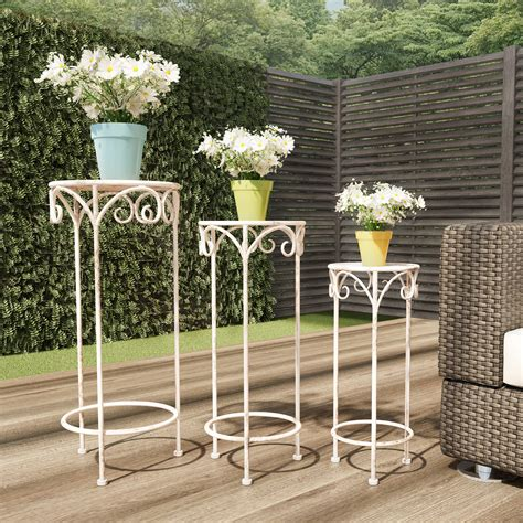 Wooden Plant Stand Indoor Metal Railing