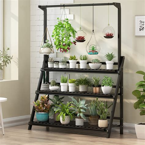 Wooden Planter Stand With Pot